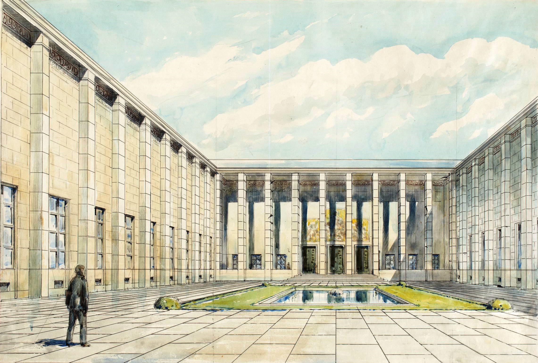Warszawa Muzeum Narodowe Widok Dziedzinca Glownego Z Kompozycja
